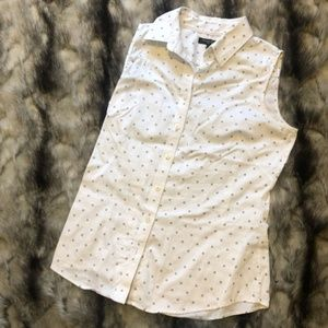 Tops - White Sleeveless Button Down with Print